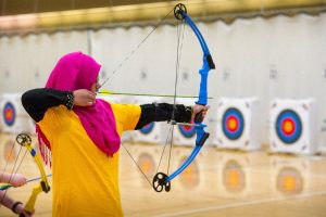 Archers from across the state compete in the Michigan National Archery in the Schools Program tournament at Central Michigan University. PHOTO CREDIT: Dave Kenyon