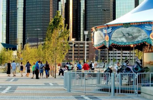 Detroit's Rivard Plaza is home to many of the east riverfront's most popular highlights, including the Cullen Family Carousel. PHOTO CREDIT: Detroit RiverFront Conservancy
