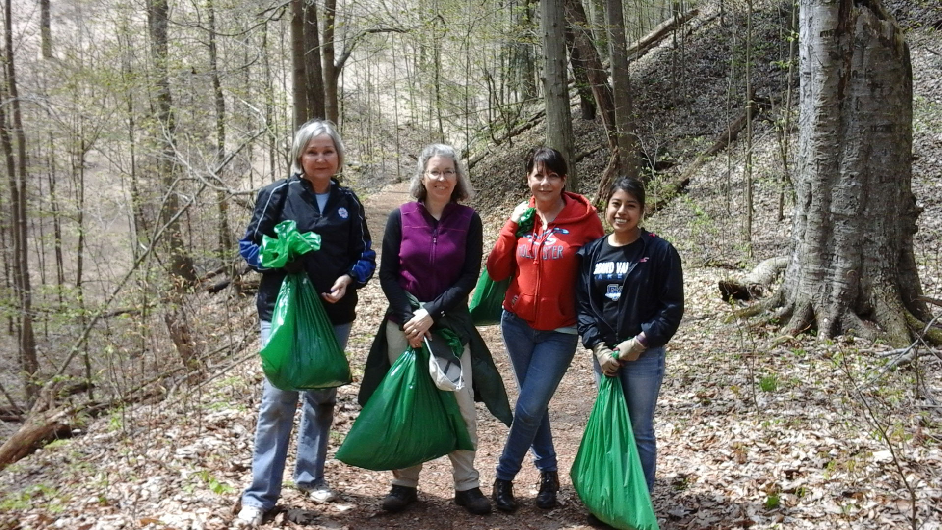 Volunteers with the DNR working to clear garlic mustard, an invasive species