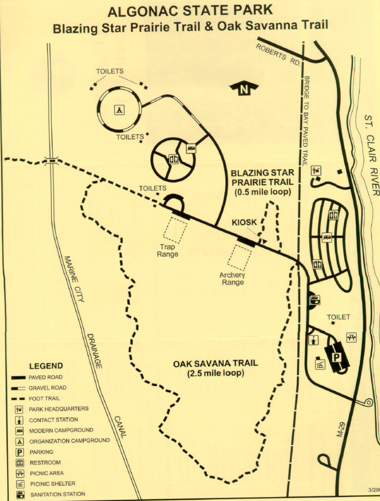 Detailed map of Algonac State Park hiking trails