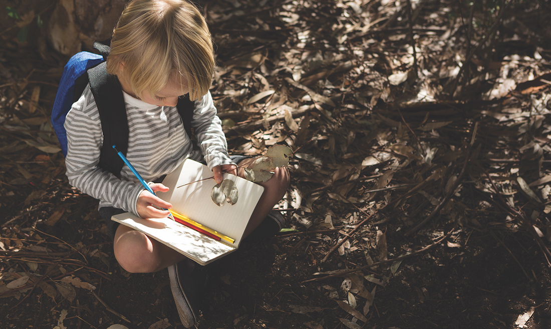 Little girl with backpack sitting on ground writing in notebook