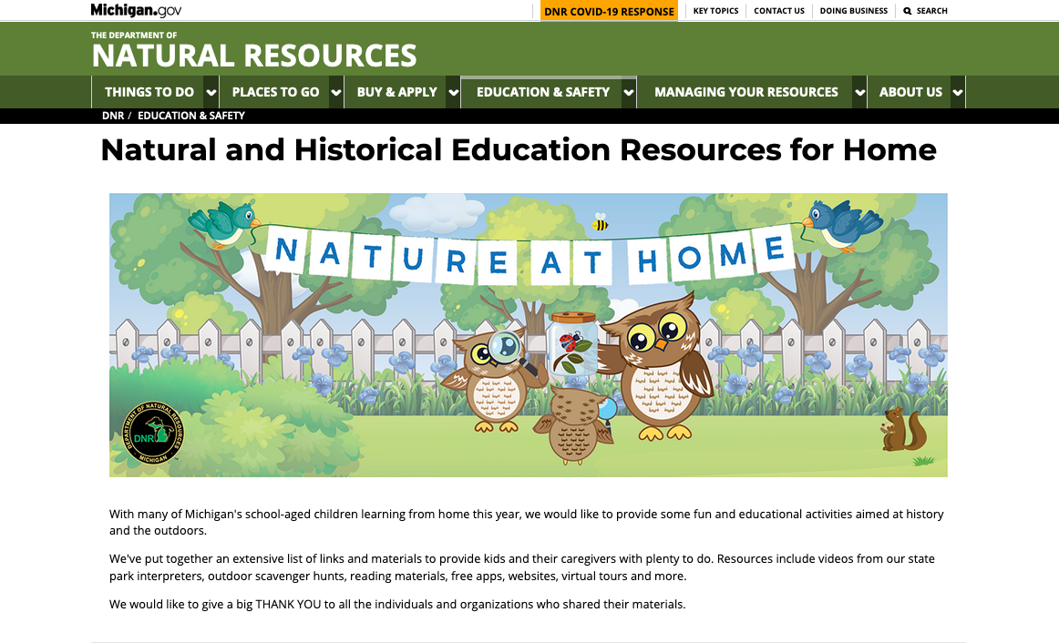 """Screen capture of """"Nature At Home"""" webpage on Michigan DNR website"""