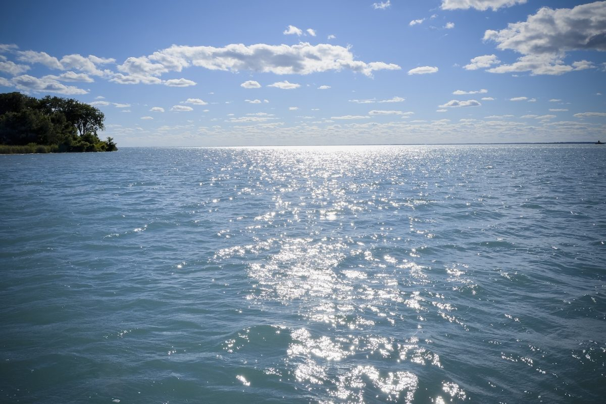 Beautiful Lake Saint Clair, one of the Great Lakes of Michigan during summer.